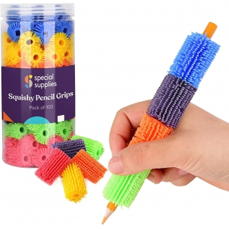 Squishy Pencil Grips for Kids and Adults - Pack of 100